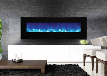 Flush Mount Electric Fireplace WM-FM-60-7023-BG – Size: 60″