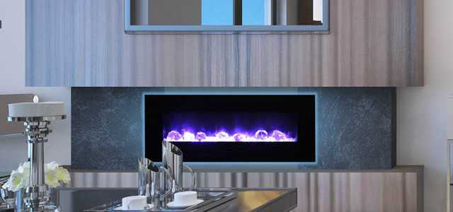 Interior of designer living with mounted fireplace