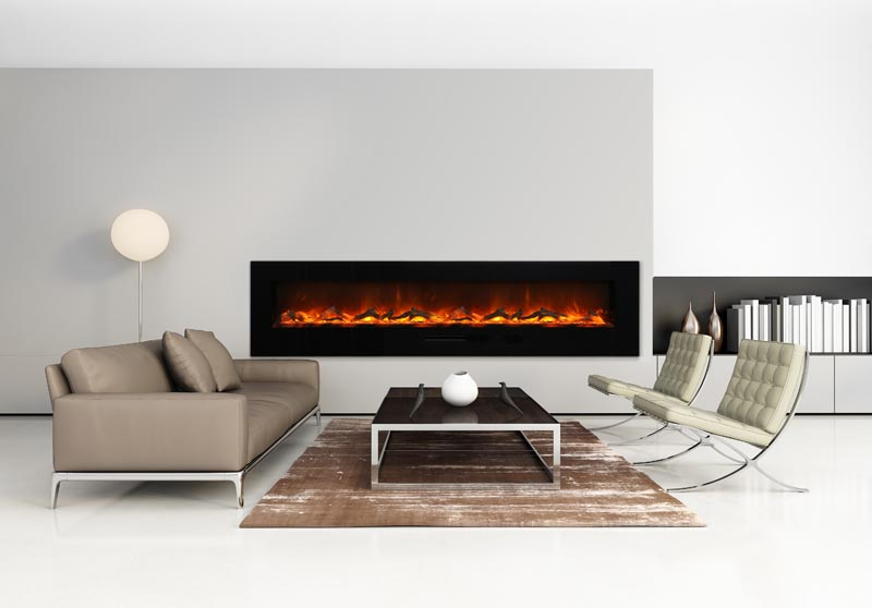 living room with a wall mounted fireplace