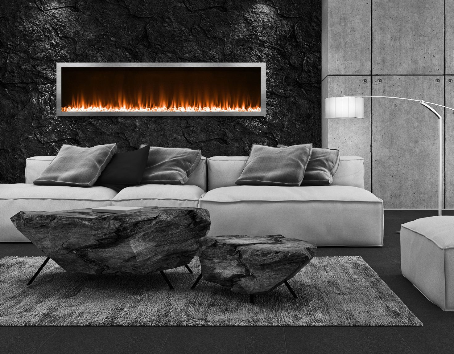 fireplace in electric recessed touchstone the products home inc touchstones heat with wide sideline black