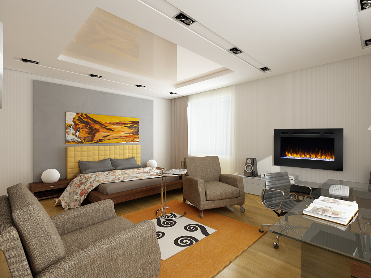 """40"""" Allusion recessed linear electric fireplace"""