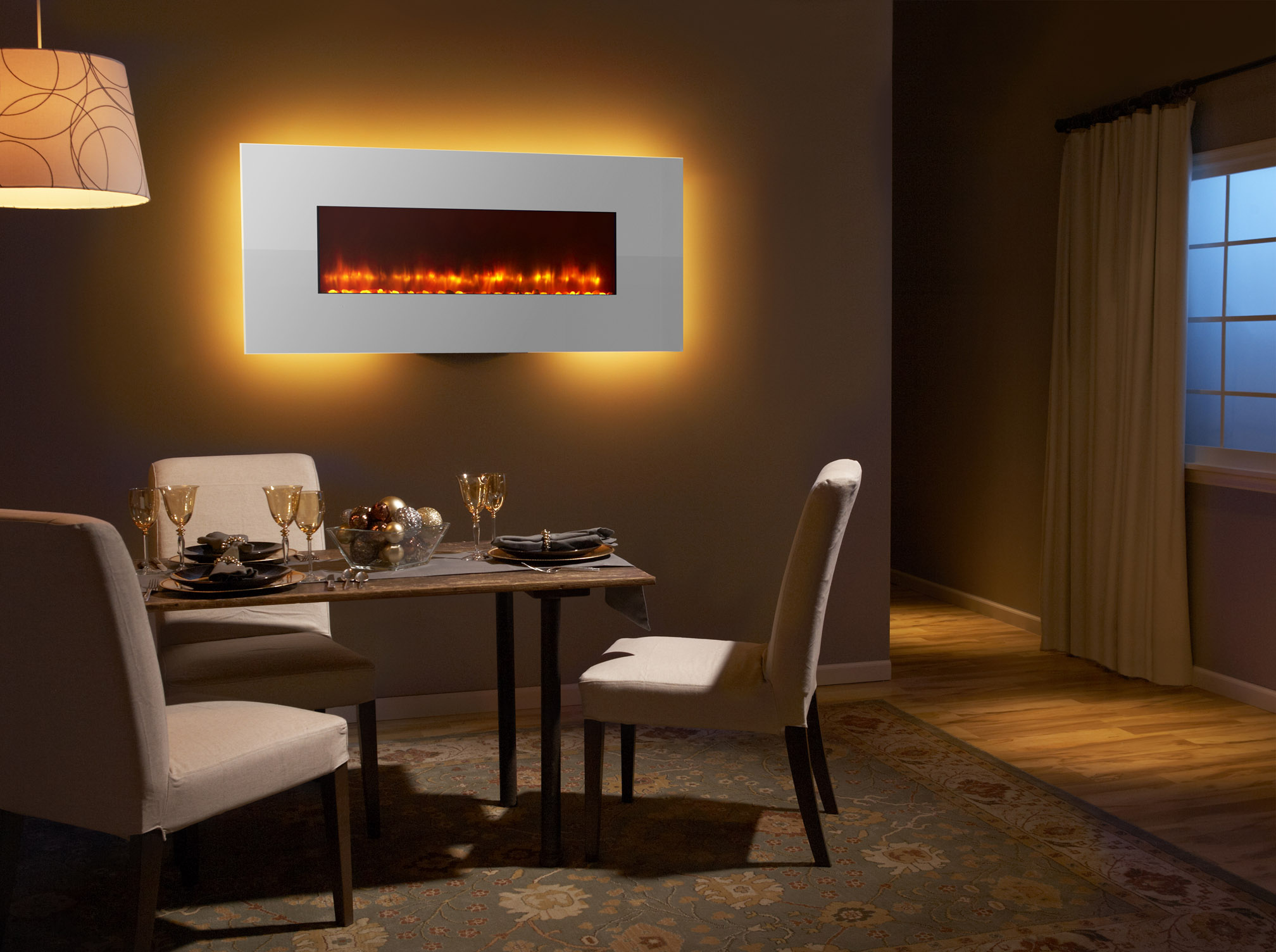 SimpliFire Wall-Mount 58 - Photo (White, Orange Flame, Gold, 4C Low Res)