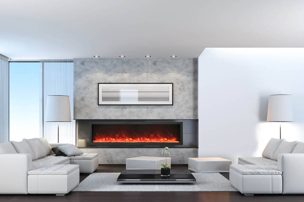 """88"""" Electric Fireplace - Built-in with Black Steel Surround BI-88-DEEP-XT"""