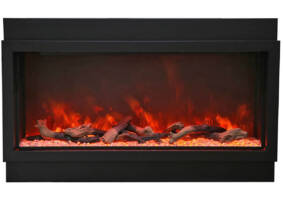"88"" Electric Fireplace - Built-in with Black Steel Surround BI-88-DEEP-XT"