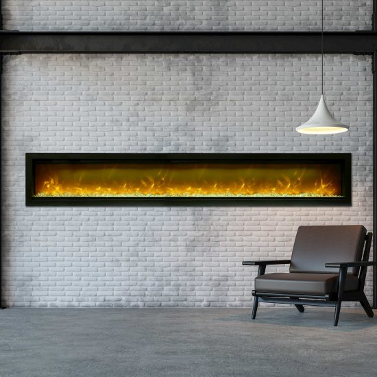 """100"""" Electric Fireplace Built-in with log and glass SYM-100"""