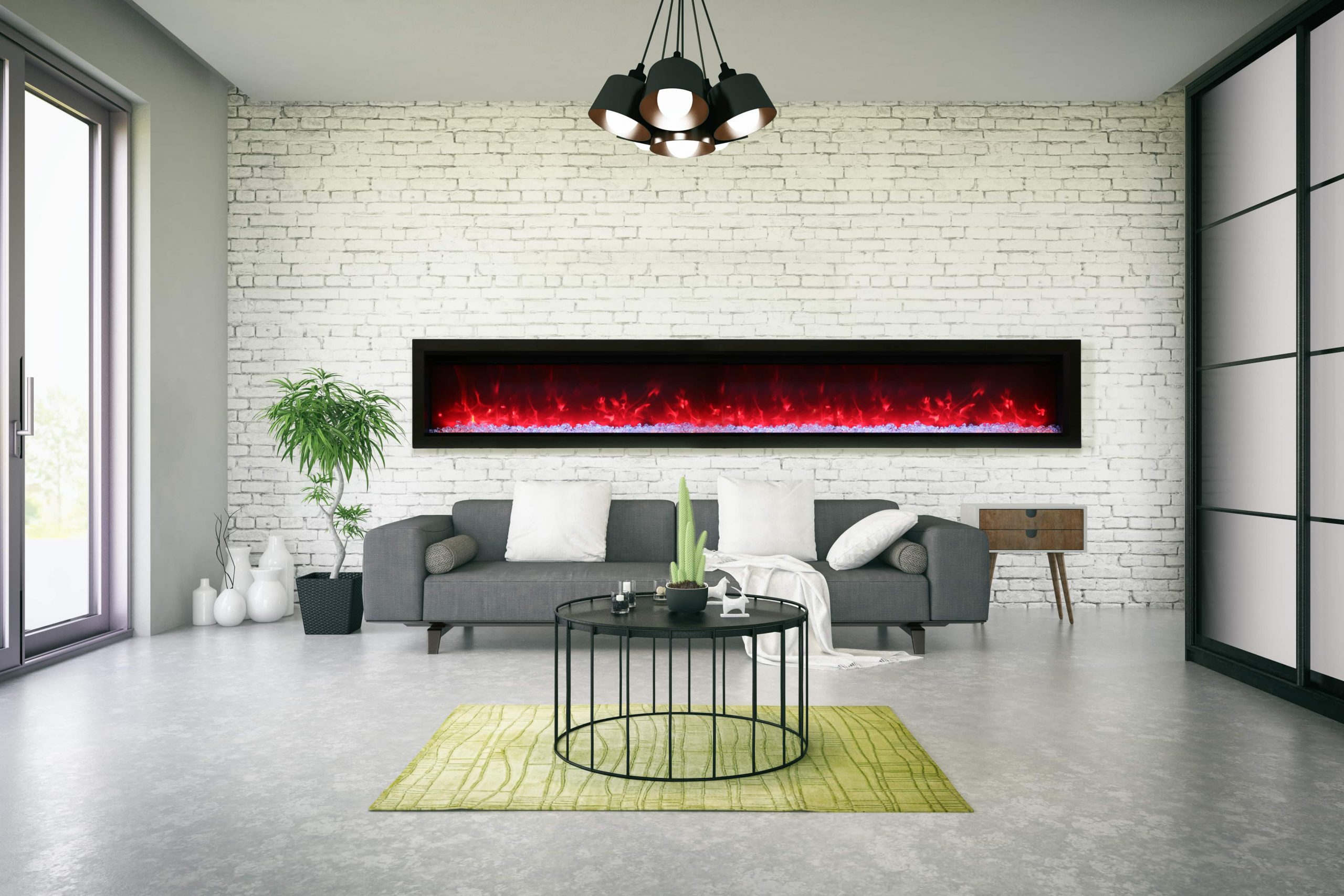 "100"" Electric Built-in Fireplace SYM-100-B"