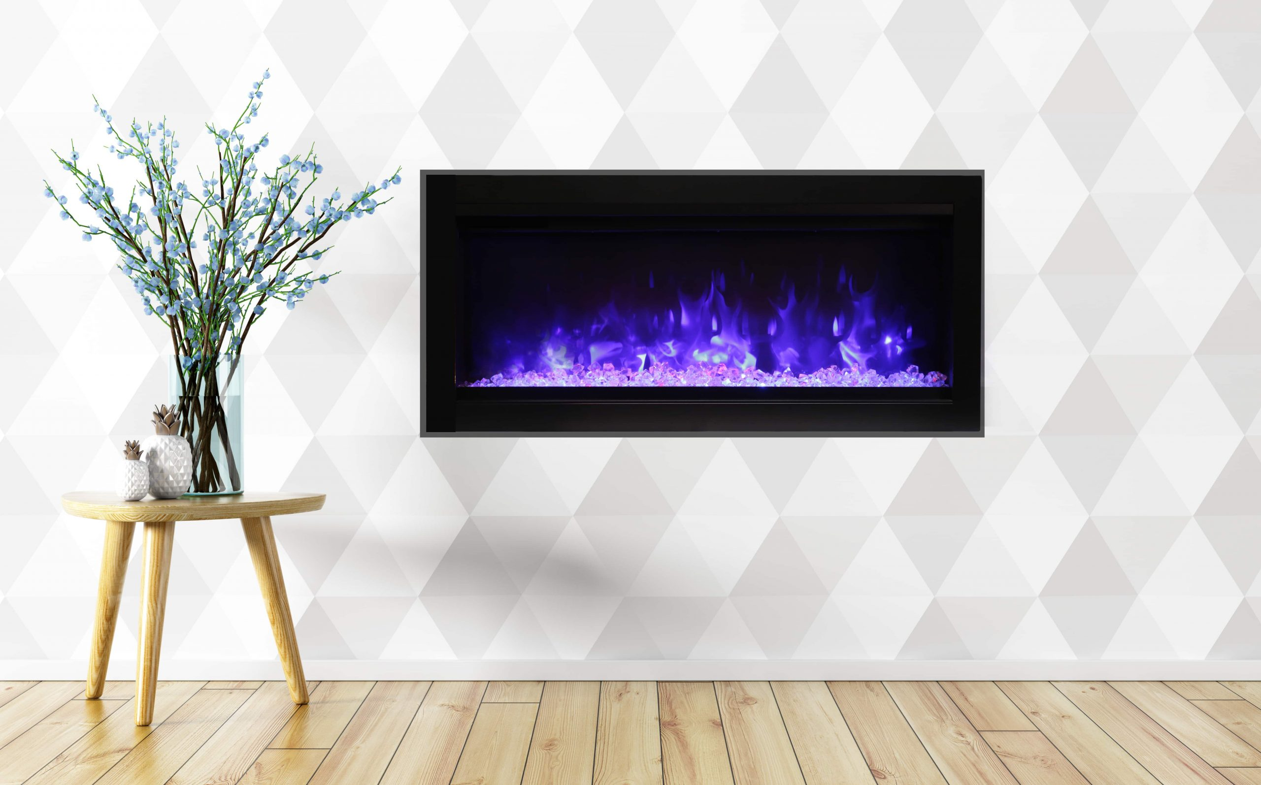 """34"""" Electric Fireplace built-in with glass SYM-34-B"""