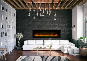 """60"""" Electric built-in Fireplace with glass SYM-60-B"""