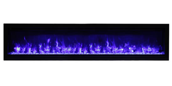 """74"""" Electric Built-in Fireplace with log and glass SYM-74"""